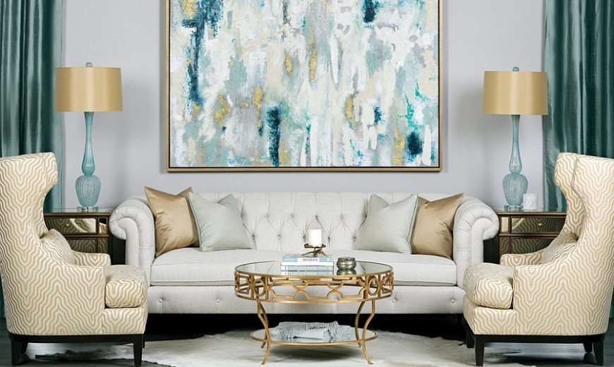 Gray And Teal Living Room Part   49: Yellow And Blue Interiors: Living Rooms Part 37