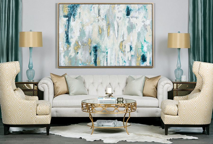... Fabulous Blend Of Teal And Gold In The Living Room [Design: High  Fashion Home