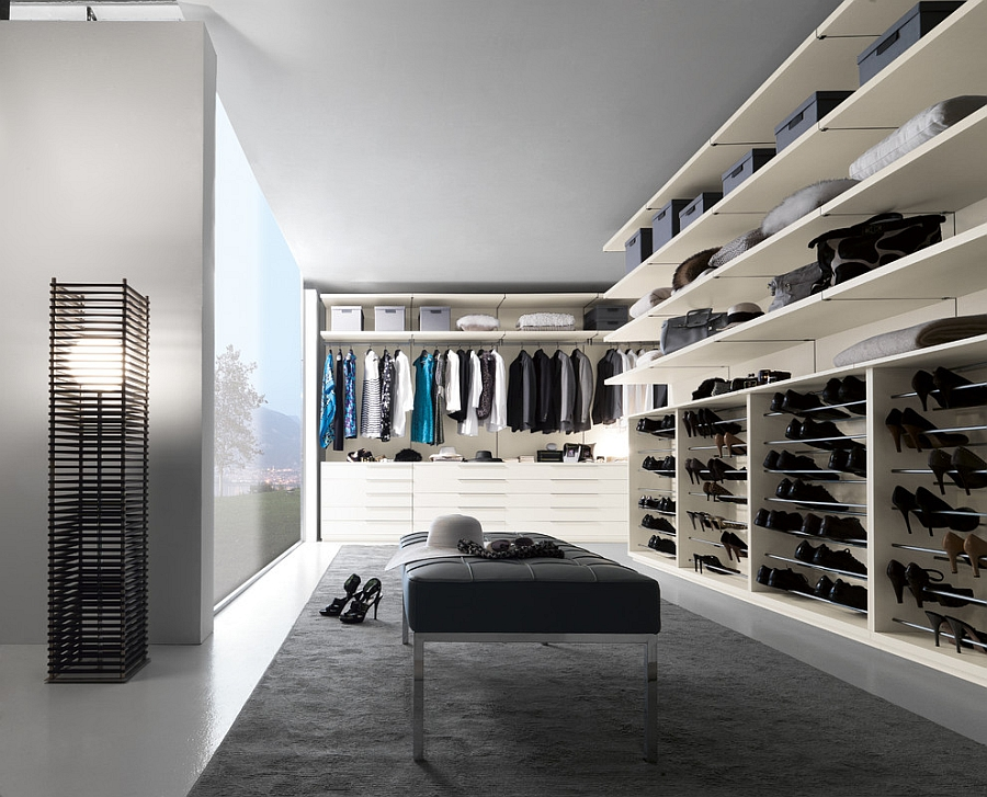 Fabulous contemporary walk in closet with ample space for clothes and accessories Exclusive Walk In Wardrobe Offers Stunning Modular Adaptability
