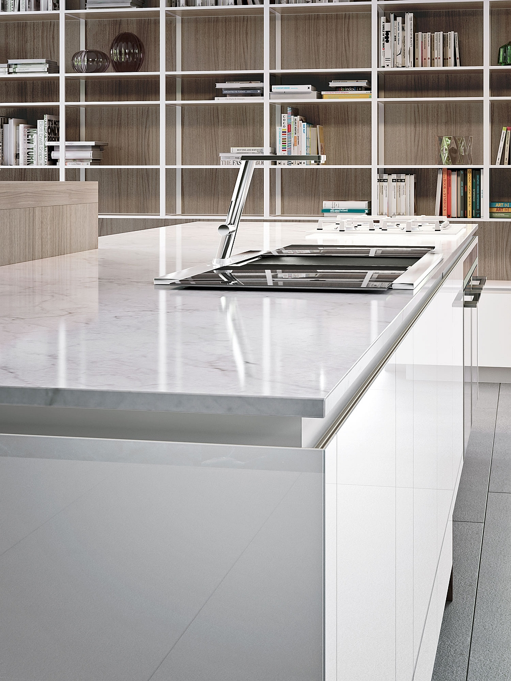 Fabulous contertop finishes give the smart Snaidero kitchen an urbane appeal