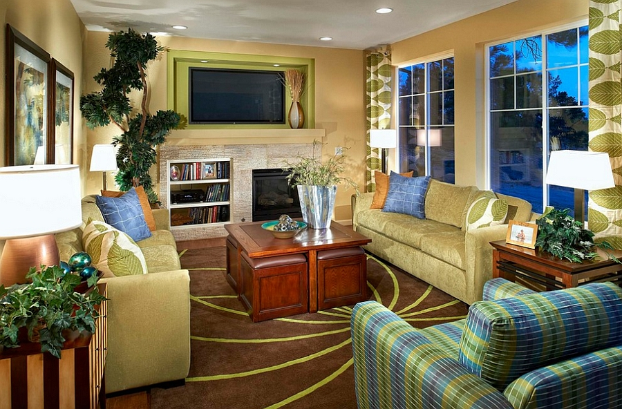 Fabulous green and yellow living room [Design: Century Communities]