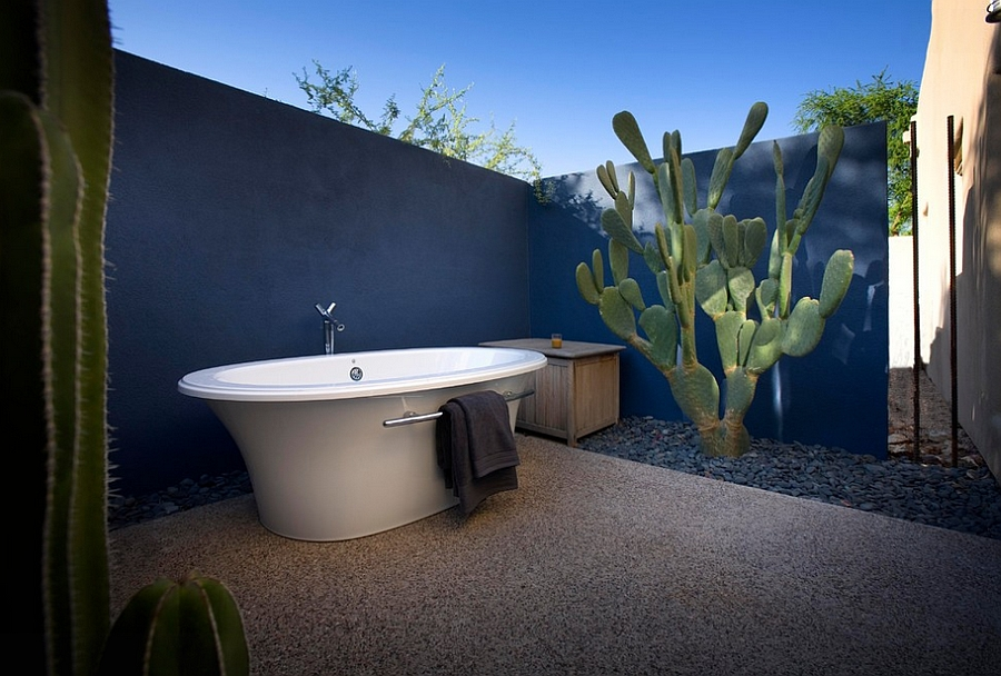 Fabulous outdoor Mediterranean bathroom with plenty of blue [Design: Exteriors by Chad Robert]
