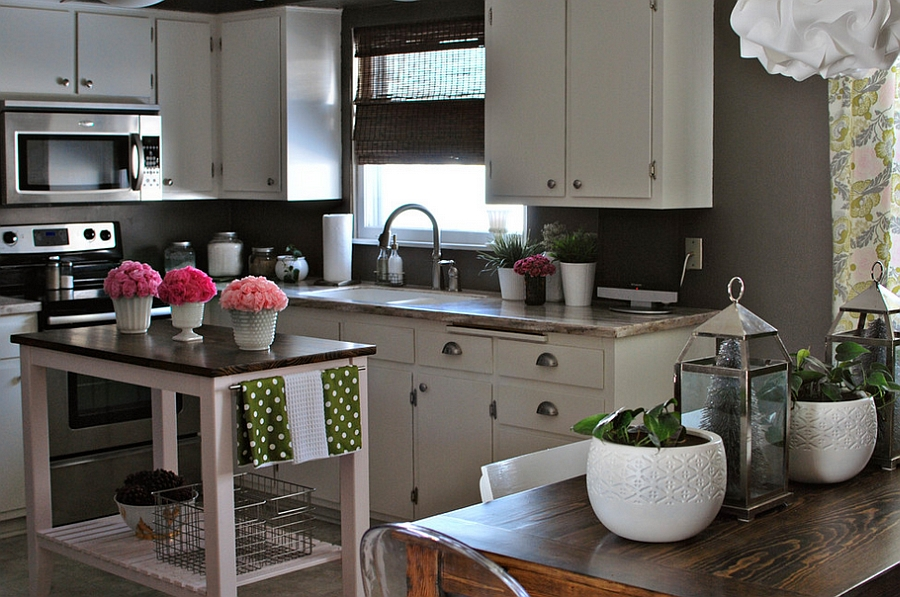24 Tiny Island Ideas For The Smart Modern Kitchen: white cabinets grey walls