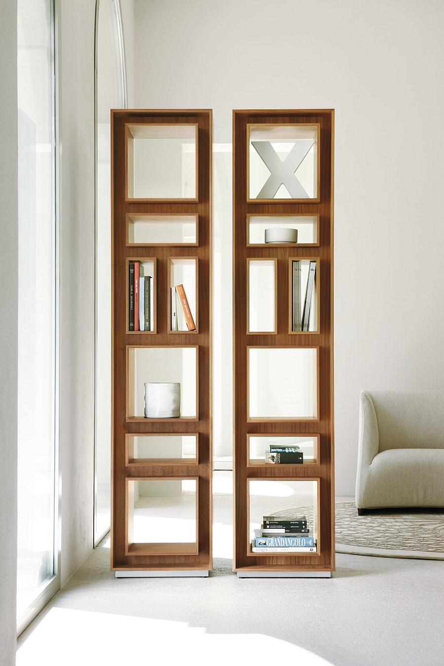 Fancy bookshelves in canaletta walnut