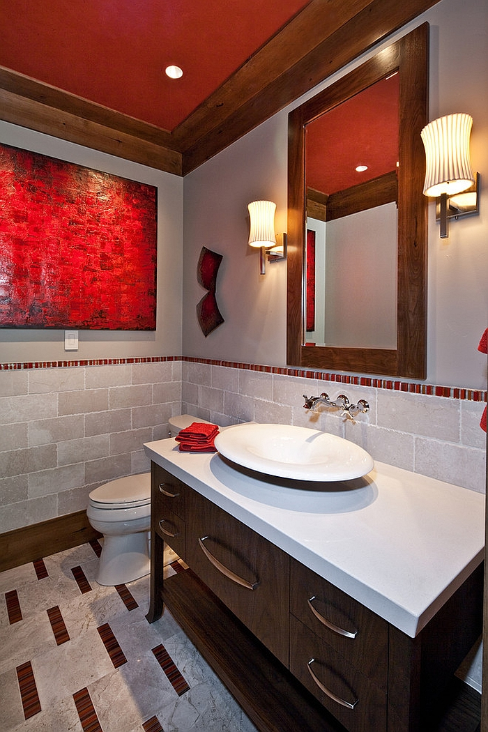 Fashionable red accents in the bathroom [Design: Jaffa Group Design Build]