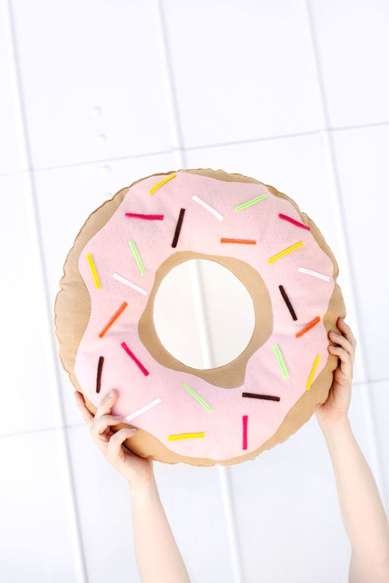 Felt donut pillow from A Beautiful Mess