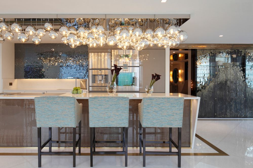 Festive modern kitchen featuring chromed glass orbs