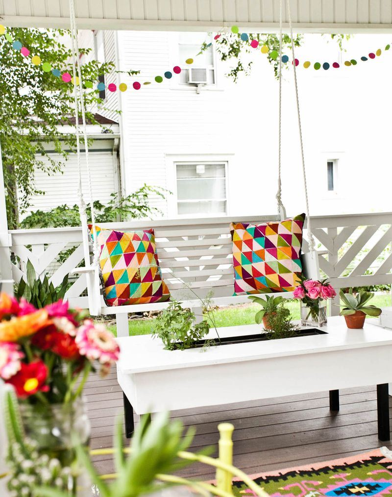 Festive party front porch from A Beautiful Mess
