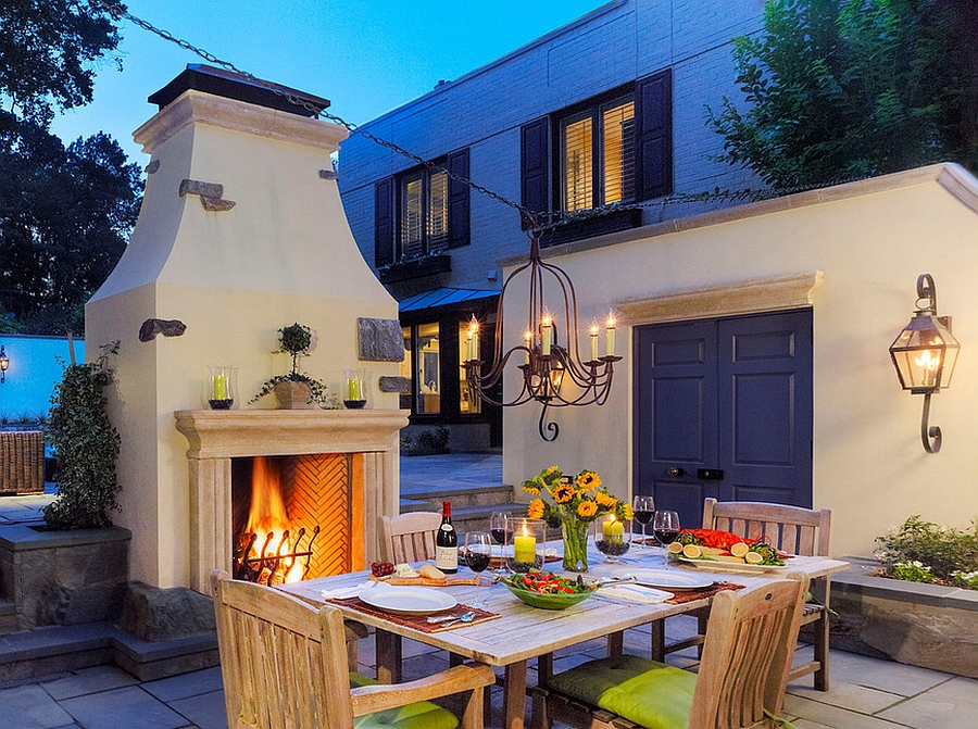 Fireplace becomes an instant focal point outdoors