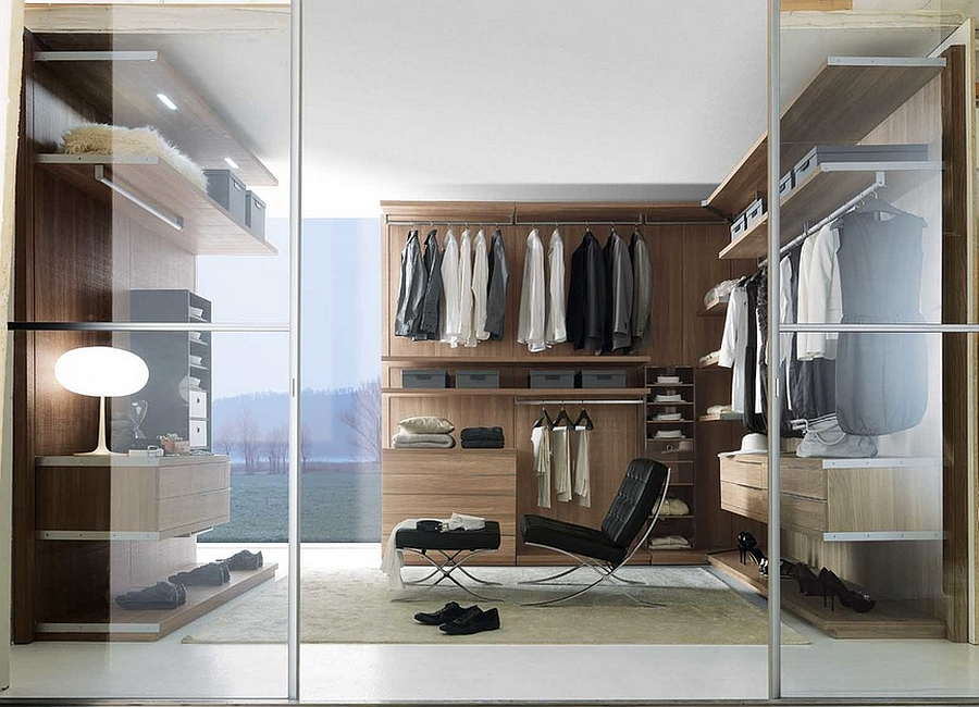 Floating drawers and shelves help in saving precious foot space Exclusive Walk In Wardrobe Offers Stunning Modular Adaptability