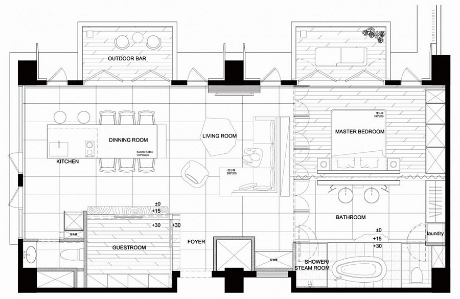 Floor plan of the beautiful apartment in Taiwan