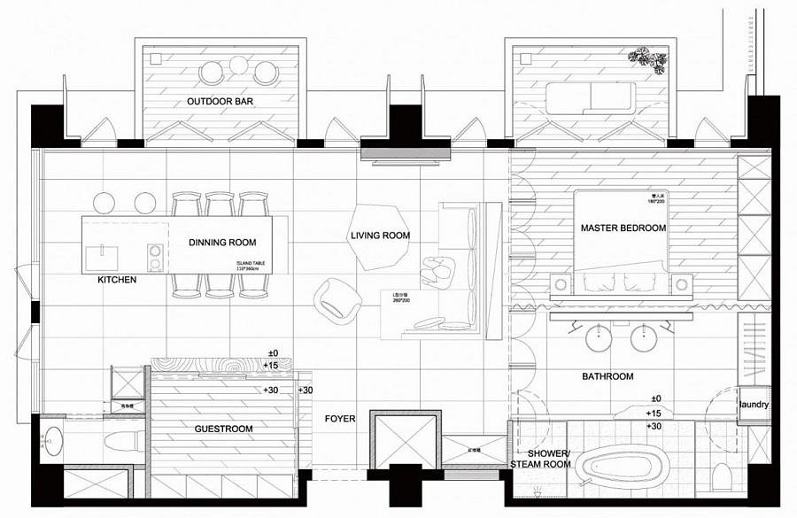 Floor plan of the beautiful apartment in Taiwan