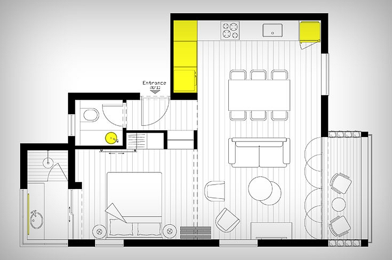 Floor plan of the renovated 46 sq meter apartment