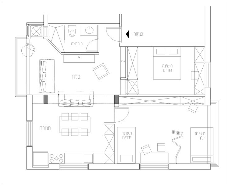 Floor plan of the renovated Tel Aviv apartment