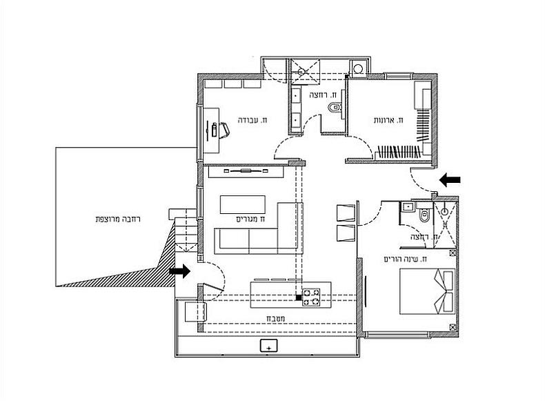 Floor plan of the revamped apartment in Israel