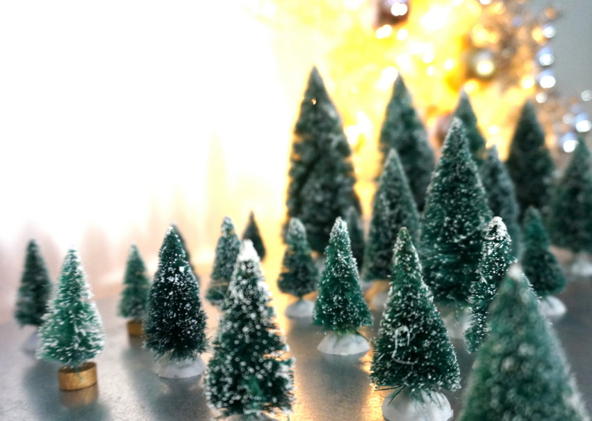 Forest of vintage miniature Christmas trees