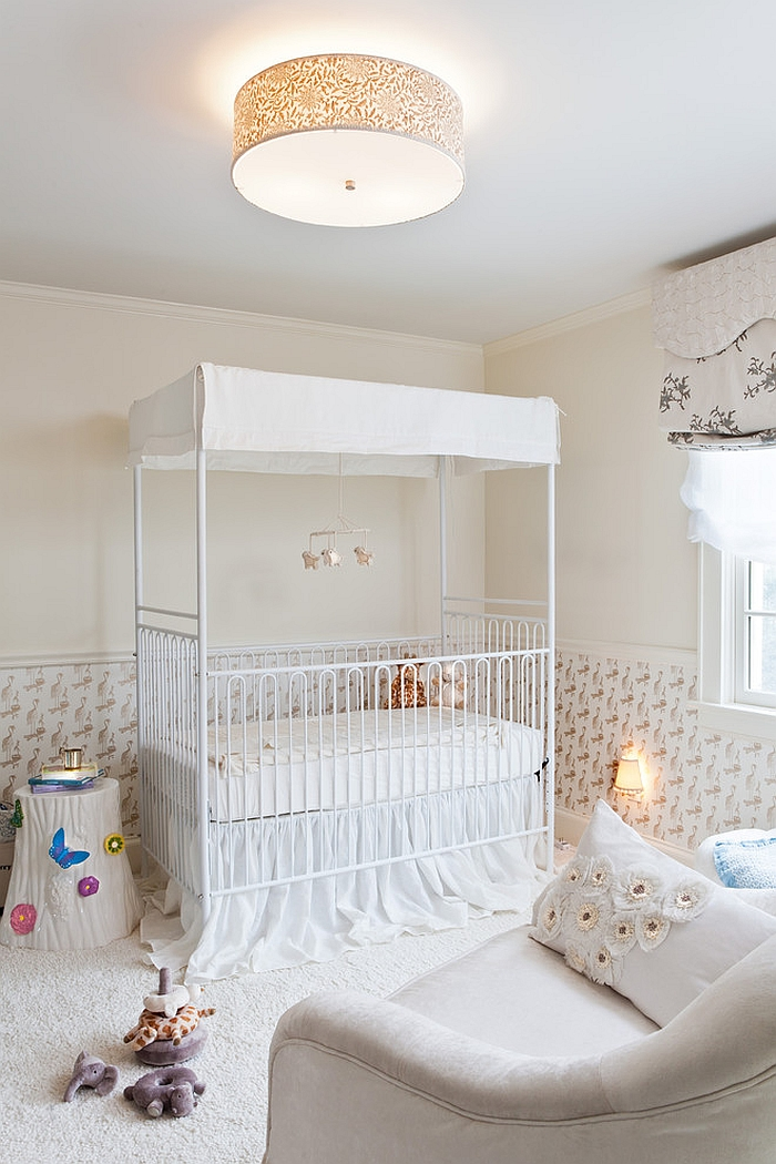 Four-poster, canopied crib in the revamped home