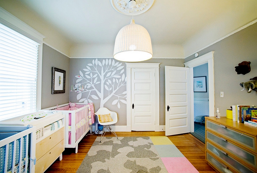 Gender neutral nursery for twins [Design: Regan Baker Design]