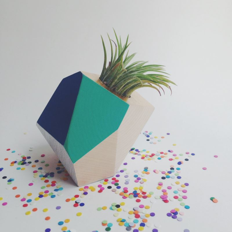 Geometric blue and teal planter