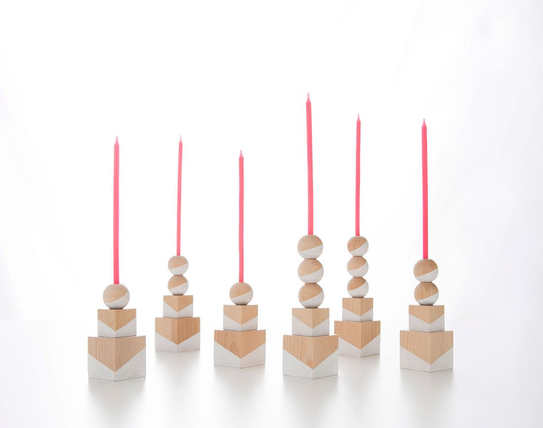 Geometric candle holders from Brit + Co.
