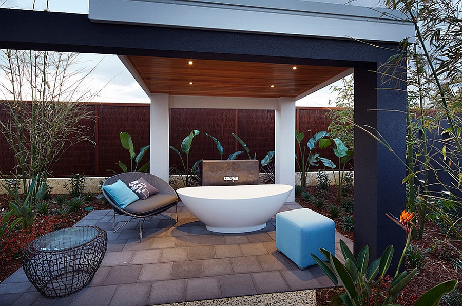 Give the porch an unexpected twist with the bathtub [Design: Ventura Homes]