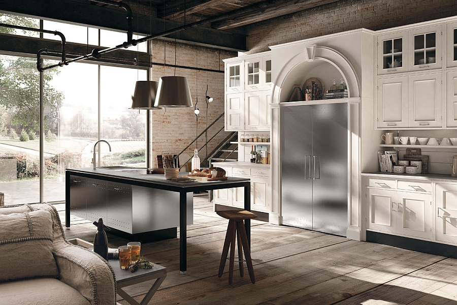 Glass and stone give the kitchen an eclectic look