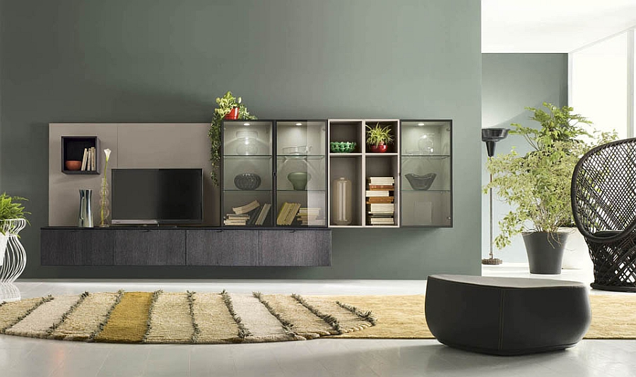 Glass doors and LED backlit units bring elegance to the wall unit