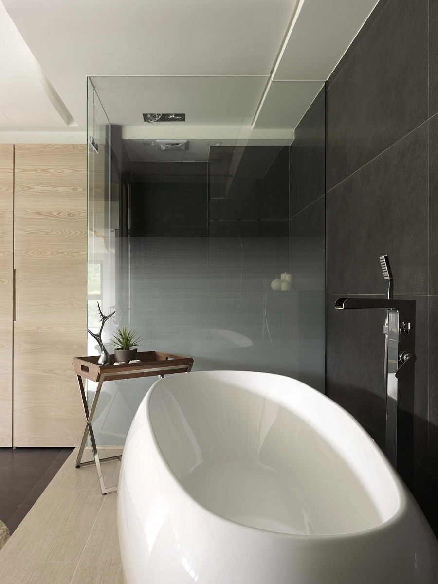Glass shower and steam area in small space