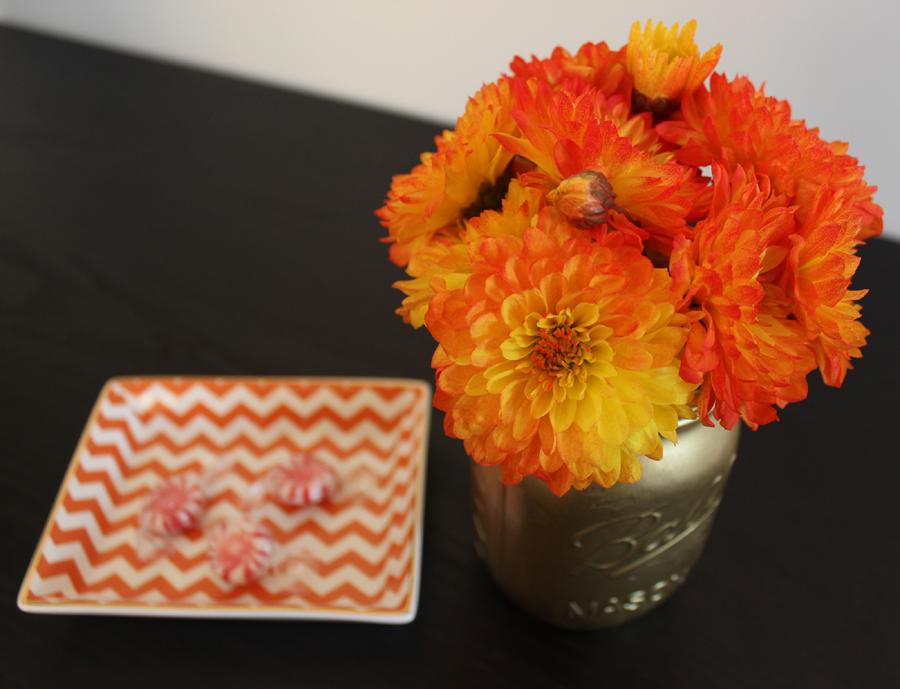 Gold Mason Jar with Orange Flowers