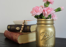 Gold Spray Paint Mason Jar