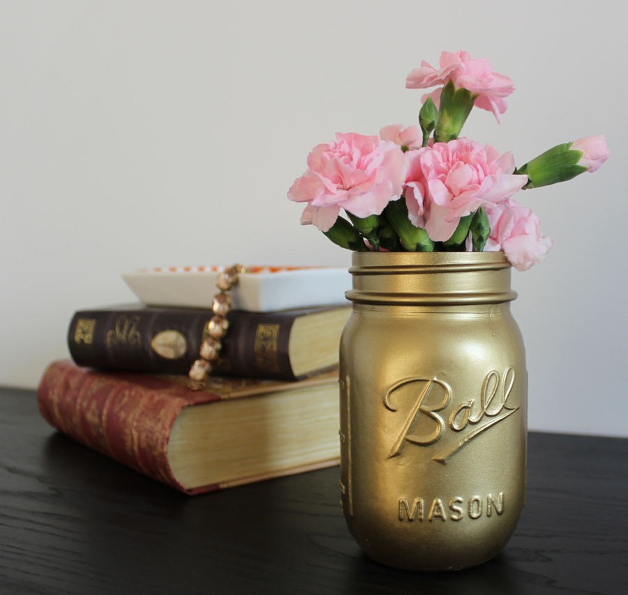 Gold Spray Paint Mason Jar