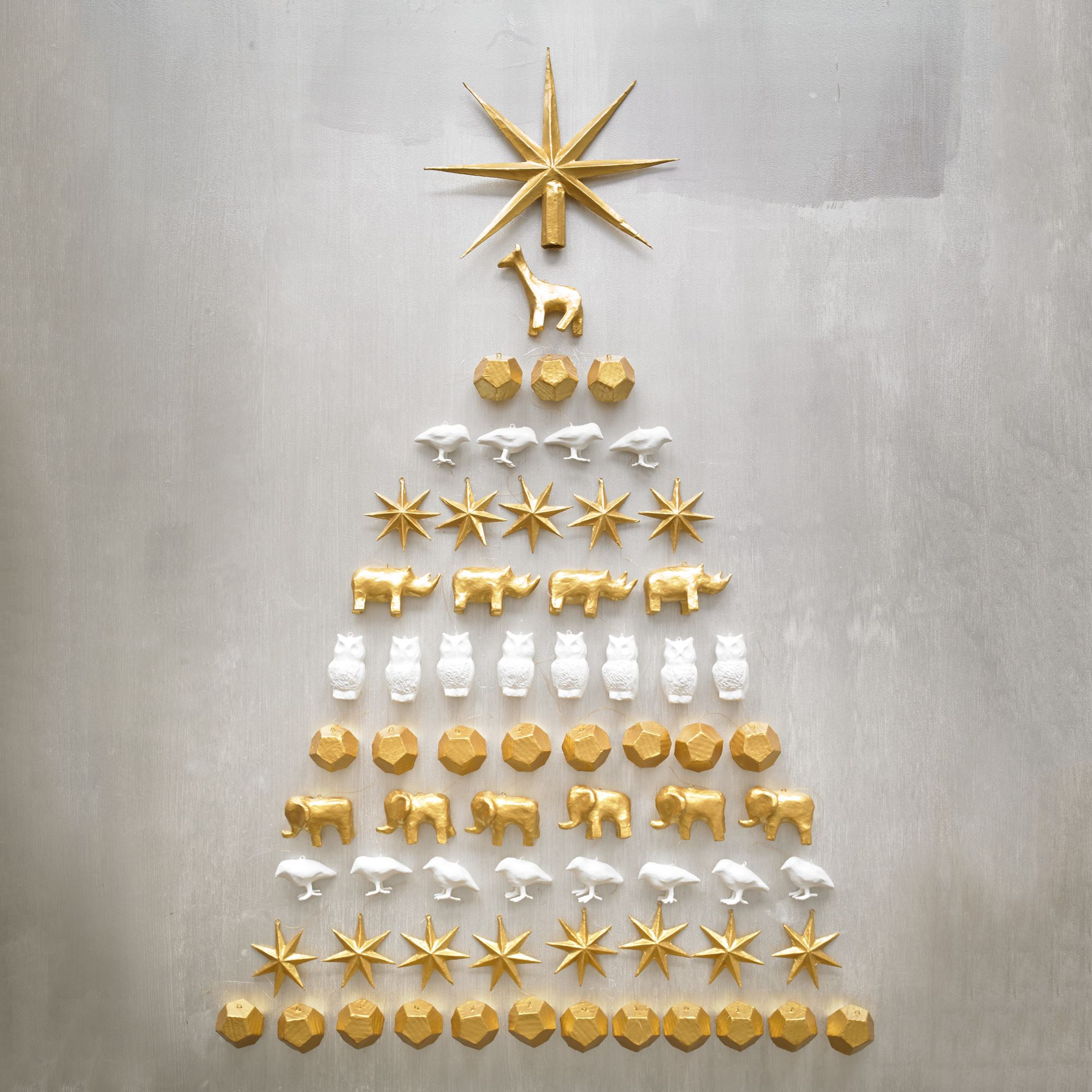 Gold and white ornament offerings from DwellStudio