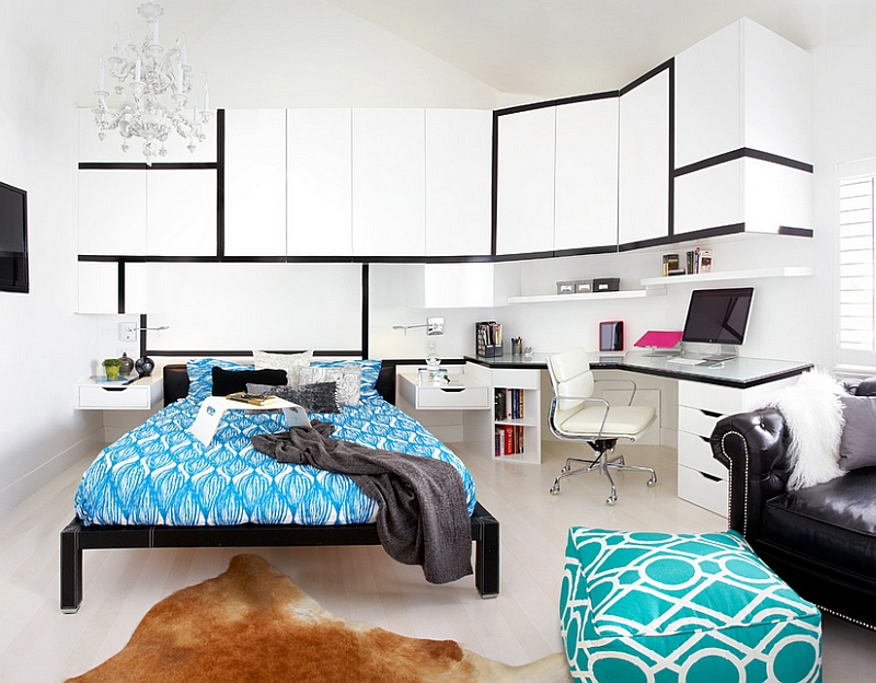 Gorgeous contemporary bedroom with a beautiful workspace [From: Dupuis Design]