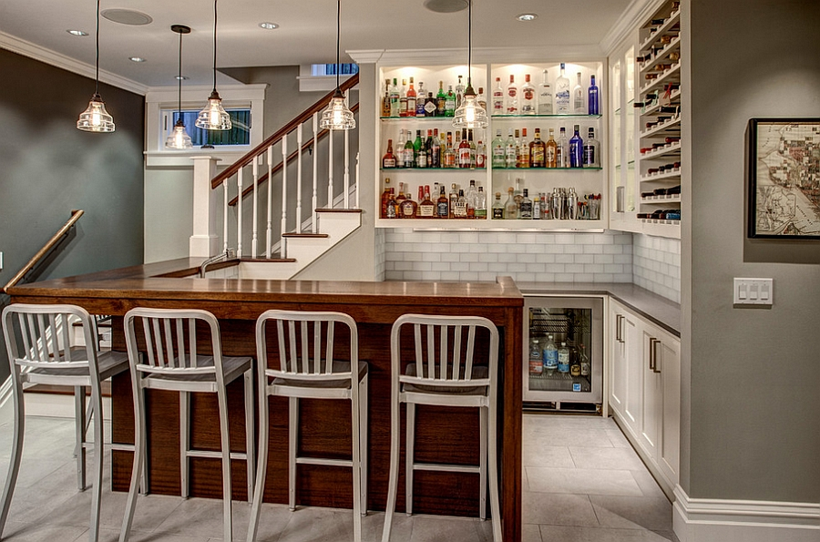 Gorgeous craftsman style basement bar with a cheerful ambiance [Design: Board and Vellum]