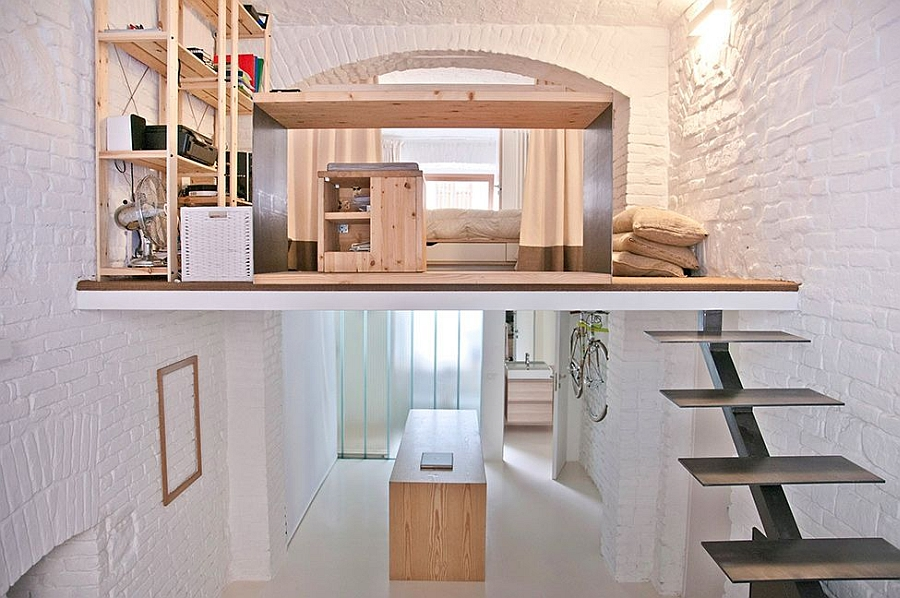 Old shop transformation into contemporary loft design ideas for Studio apartment solutions