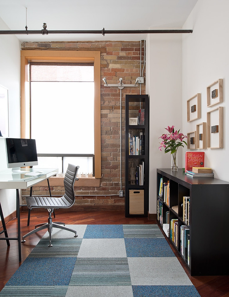 Gorgeous rug adds a touch of softness to the home office [Design: Pause Architecture + Interiors]