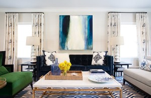 Gorgeous rug adds pattern and color to the living room