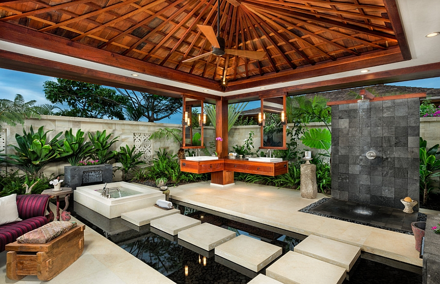 Gorgeous tropical outdoor bathroom with spa-styled brilliance [From: Ethan Tweedie Photography]