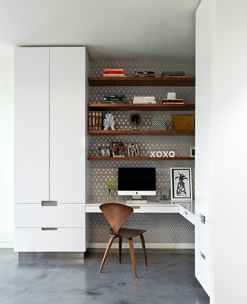 Gorgeous use of wallpaper for the home office niche [Design: CONTENT Architecture]