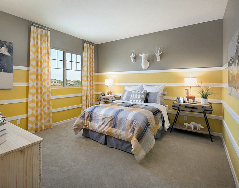Gorgeous use of yellow and grey in the bedroom [Design: Meritage Homes]