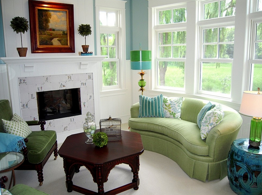 green and blue make a beautiful combination in the living room design