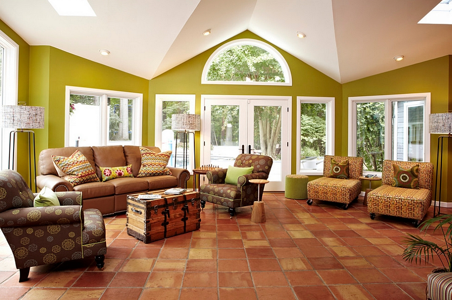 Green brings cheerful ambiance to this airy living room [Design: Designing Solutions]