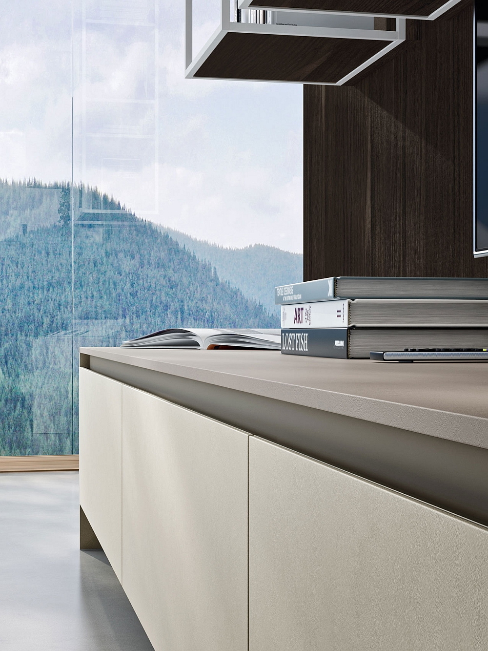 Handle-less finishe of the shelves gives the kitchen a contemporary appeal