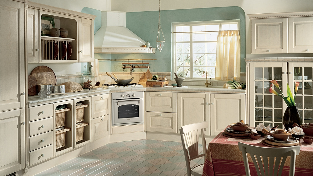 Harmonious kitchen design with summer cottage style