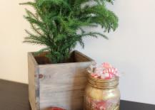 Christmas decorating idea with Gold Mason Jar