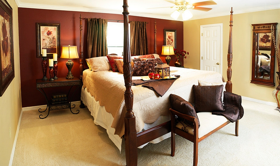 Imaginative blend of yellow and red in the eclectic bedroom