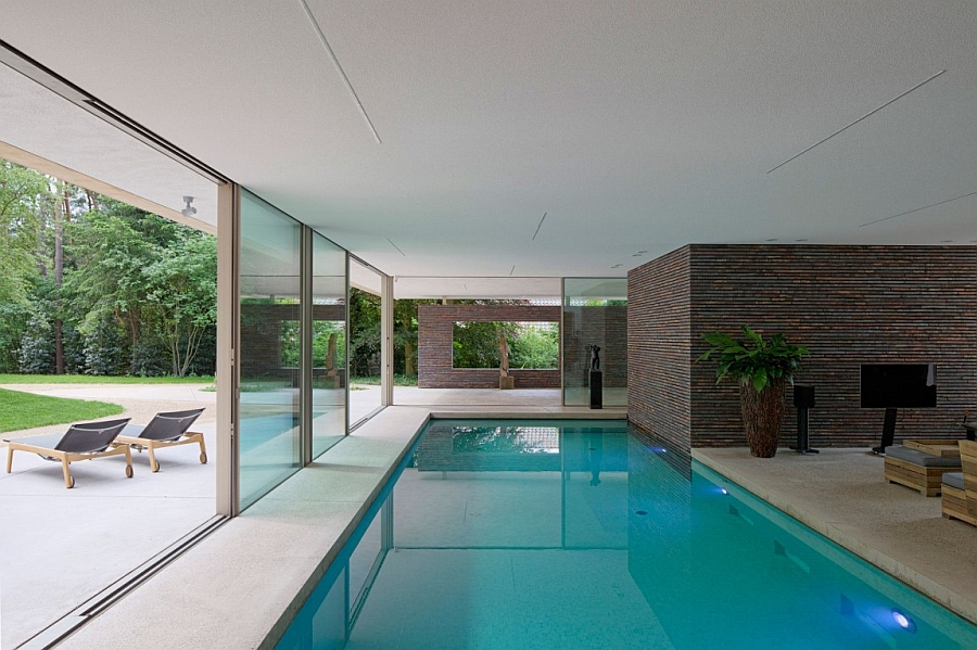 Indoor pool that is connected with the backyard outside