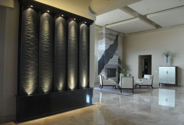 Indoor water wall with dramatic flair