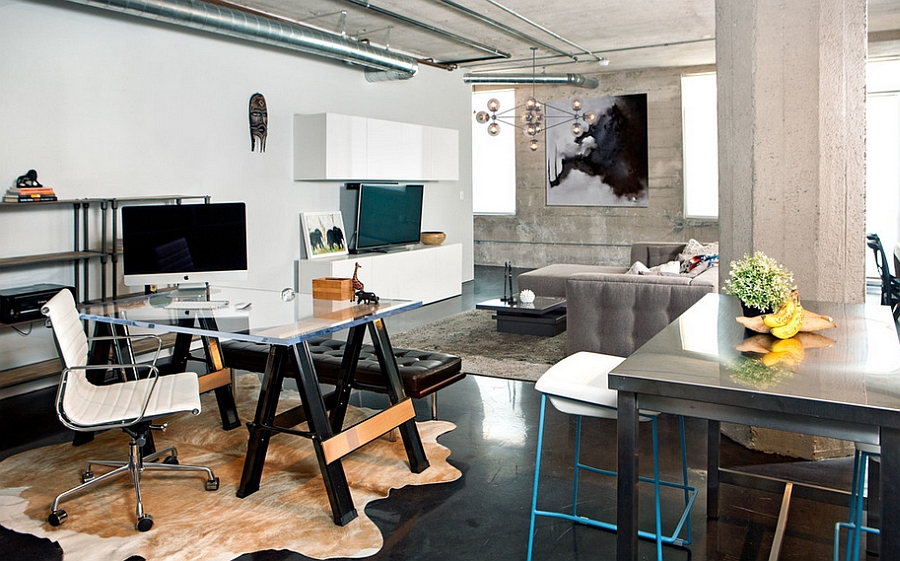 Industrial home office that seems like a natural extension of the living space [Design: Caitlin & Caitlin Design]