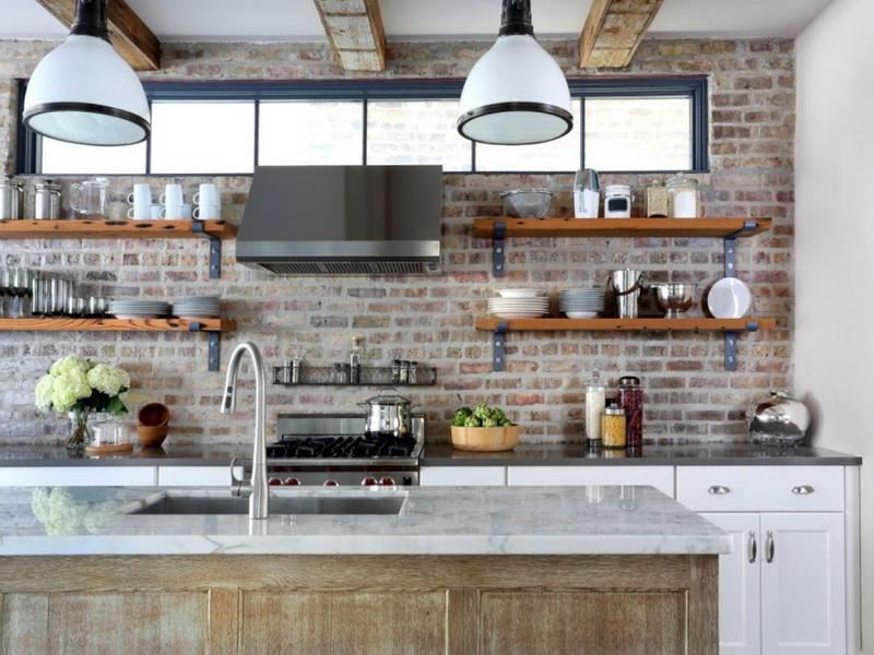 Industrial kitchen with open shelving decoist Industrial design kitchen ideas